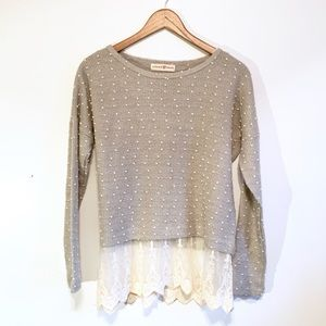 Altar'd State 3D dot sweater with lace hem grey